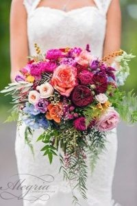 beautiful-wedding-bouquets-cascade-with-greens-and-bright-flowers-white-pink-claret-blue-calli-b-photography-334x500