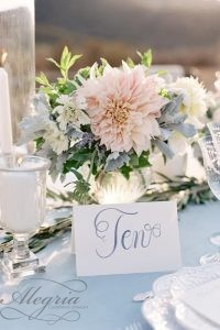wedding-trends-2019-bridal-table-centerpiece-silver-vase-with-blush-pink-dahlia-flower-gray-leaves-leliascarfiotti
